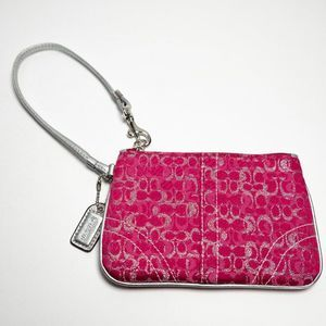 Coach Optic C Lurex Raspberry, Silver Wristlet